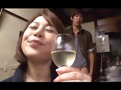 Japanese cougar sucks dick and gets a facial