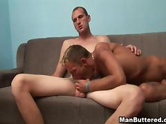 Kinky gay guy with a slim tattooed body sucking a stranger's cock