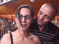 Emma gets pussy screwed in gangbang session in public