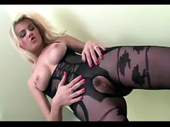 Crotchless, Blonde, Bodystocking, Fucking, Stockings, Crotchless