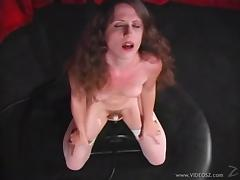 Long haired hottie Lena Ramon cums while riding a sexy machine