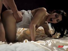 Dreamy white lingerie on a beauty he fucks on satin sheets