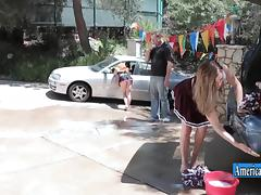 Pretty cheerleader Kasey Warner fucked in the back of a car