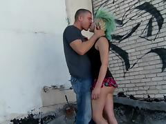 Mini-skirt clad punk with a sexy body getting her pussy and asshole licked