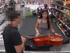 Babe pawns her Cello and fucked at the pawnshop for cash