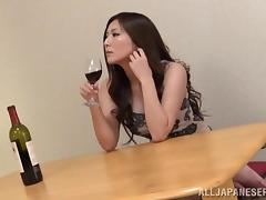 Pink thong is damn fine on a dildo riding Japanese babe