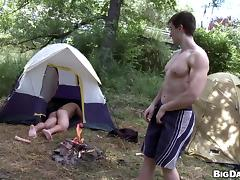 Camping in the woods is much more fun with a fat cock in the ass