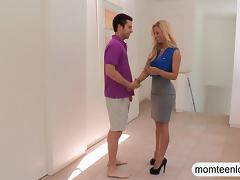 Busty mature stepmom Cherie Deville fucking with teen couple