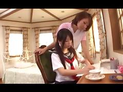 Japanese porn video with lesbians eating hairy muffs