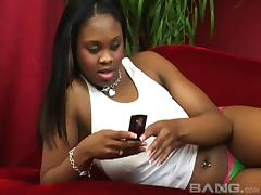 Chubby ebony slut Suga Brown is getting her pussy ravished
