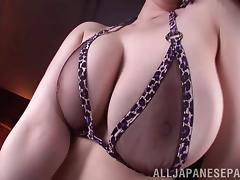 You can see her big tits and Japanese pussy through her sheer lingerie