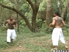 Deep in the jungle two smoking hot Latin guys have anal sex