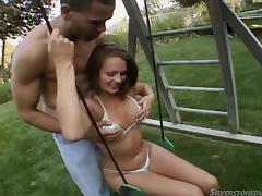 Bikini girl shows what a slut she is by having anal sex outdoors
