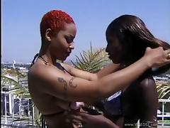 Marvelous Ebony With Fake Tits Getting Feasted In A Threesome Sex