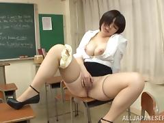 A chesty Japanese teacher gets plowed by her favorite student