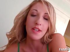 Lucky blonde girlfriend mouth fucking huge cock in POV style
