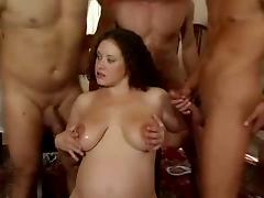 Curly german pregnant gangbang