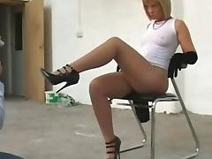 Sexy English slut teases camera man