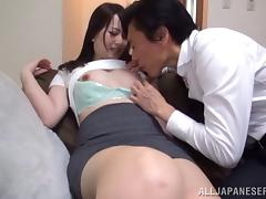 Very pretty Japanese chick in pantyhose sits on his cock