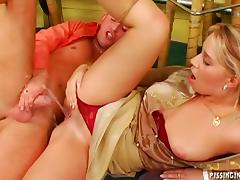 Kinky girls get fucked then get pissed on by the guys