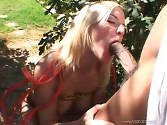 Pleasing Blonde With Big Tits Coping Up With Big Black Cock