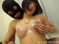 She has underwear sex with the masked man that fills her pussy