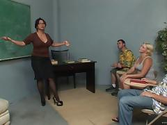Hot MILF Teacher Started A Naughty Threesome Banging