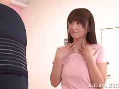Alluring Japanese doll in sexy dress fucks like a real pornstar