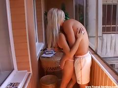 Lustful amateur blonde Vendi fucked on a terrace doggystyle
