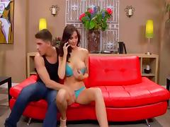 Sex on red couch