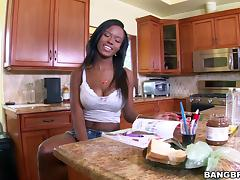 Jezabel Vessir cums all over a whit guy's thick cock