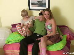 Cute blonde teen in stockings fuck in a threesome with swingers