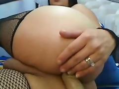 SHemale big tits, strokes cock, fingers ass