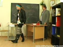 Old teacher and his perky tits student have great sex in class
