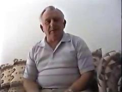 Silver stocky grandpa masturbate