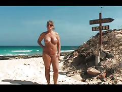 Mom and Girl, Amateur, Beach, Big Tits, Bikini, Blonde