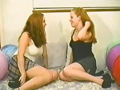 Retro lesbian bitches licking cunt and fingering in miniskirt
