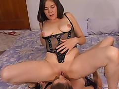 Thick amateur lesbians take turns riding each other's faces