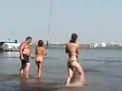 Fishing with nude Russian Teens