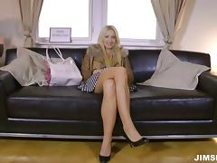 Long haired blonde miss loves sitting on a hard pecker