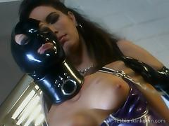 Latex fetish girls enjoy an evening of lesbian kink