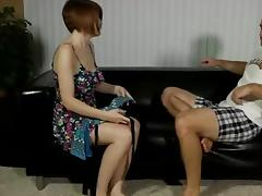 Busty redhead gives blowjob and has sex
