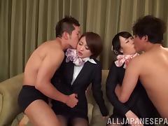 Japanese, Asian, Bra, Doggystyle, Fingering, Foursome