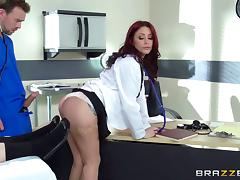 Tattooed doctor with big boobs gets nailed by hung nurse hardcore