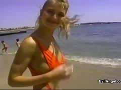 From the beach to an amazing erotic bed sex until blonde takes cum