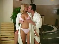 Sauna, Big Tits, Blowjob, Couple, Facial, Hardcore