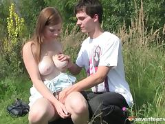 Groping her amazing amazing teen tits turns him on for fucking