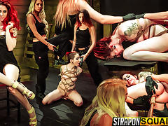 Rope Suspension BDSM Fun for Sheena Rose with Mila Blaze & Alexa Rydell