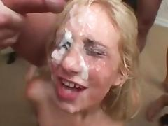Blonde slut gets huge facial bukkake