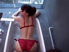 Skinny Asian bimbo in a bathtub taking a hard cock in her wet cunt